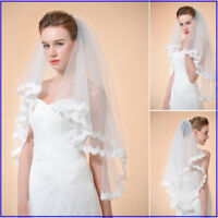 Elbow Length Wedding Veils Lace Floral Edge Bridal Veils White Ivory 1/2/3 Layer