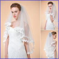 Elbow Length Wedding Veils Lace Floral Edge Bridal Veils White Ivory 1/2/3 Layer