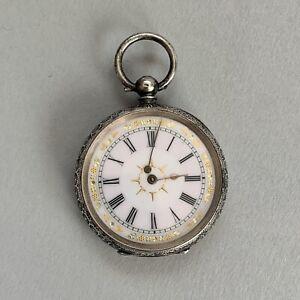 Antique Solid Silver 935 Ladies Pocket Watch Swiss Enamel Three Bears