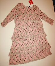 NEW Hanna Andersson Girls 140 or 10 Year Pink Peach Floral Dress Ruffles Layers