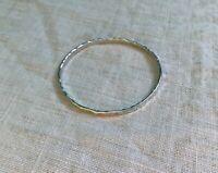 """Vintage Stamped """"Sterling"""" Thin Hammered Silver Bangle Bracelet"""