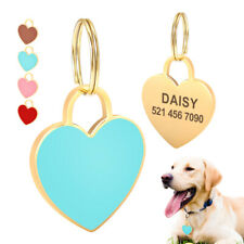 Personalized Cat Dog Tag Cute Custom Heart Shape Stainless Steel Pet ID Name Tag