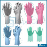Washing Up Gloves, Household Silicone Rubber Dish Washing Scrubber Cleaning UK
