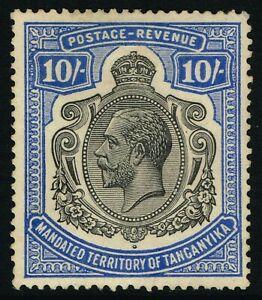 SG 106 TANGANYIKA 1927 - 10/- BLACK & DEEP BLUE - MOUNTED MINT