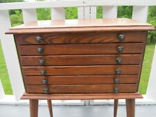 Antique Oak 6 Drawer Pocket Watch Store Spool Thread Cabinet Nicely Repurposed