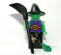 Lego Green Witch  Minifigure Figure Broom & Frog Halloween Monster