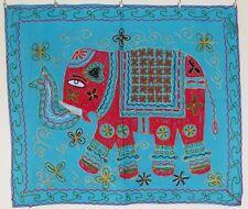 Único Elefante Indio Étnico Bordado Hippie Colgante De Pared-Turquesa (EL14)