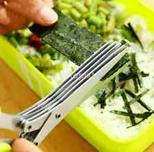 Stainless Steel Kitchen Knife 5 Five Layer Scissors Herb Spice Multiple Blade FR