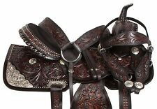 "NEW 16"" 17"" BLACK WESTERN SHOW HORSE SADDLE LEATHER SILVER PARADE TRAIL TACK"