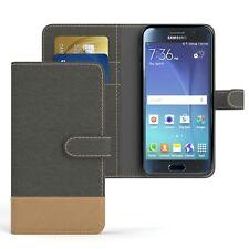 Tasche für Samsung Galaxy S6 Jeans Cover Handy Schutz Hülle Anthrazit