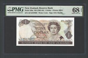 New Zealand One Dollar (1981-85) P169b Uncirculated Graded 68 Top Pop