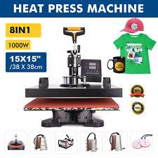 8 In1 Heat Press Machine 360swing Away T Shirt Hat Mug Printing Press 15x15