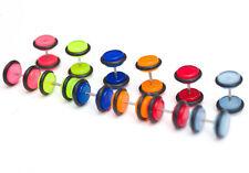 12 x Fake illusion glow in the dark plugs flat designs, fit like normal earrings