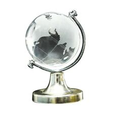 Crystal Glass Frosted World Globe Stand Paperweight Home Desk Wedding Decor E3E9
