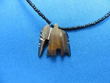 Kenya African Jewelry BOVINE COW BONE AND GLASS BEAD BATIKED PENDANT NECKLACE D