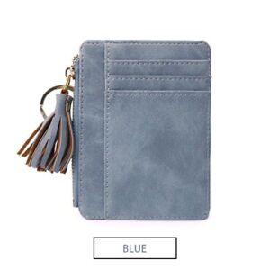 Nubuck Leather Mini Tassel Women Card Holder Cute Credit Wallet Case Keychain