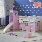 Hochbett Spielbett Kinderbett mit Rutsche Turm Vorhang pink 90x200 Jugendbett günstig