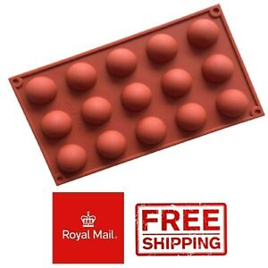 15 Half Sphere Balls Silicone Chocolate Mould Wax Melts Circle Desserts Mold