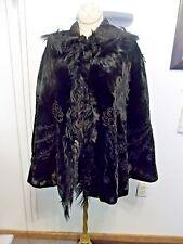 Vintage Black Velvet Brocade Cape Edwardian Mourning