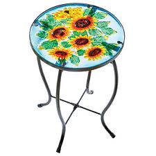 Bright And Cheerful Sunflowers Round Glass Top Accent Table