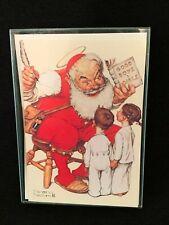 Hallmark Christmas Greeting Cards Norman Rockwell Vtg Artist Santa Children Xmas
