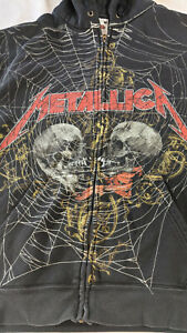 Metallica Fruit Of The Loom All Over Spider Web Hoodie Large