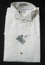 New White Wing Collar Pleated Front Cotton Blend Tuxedo Shirt Small S 14 35/36