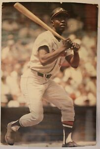 Original 1968 Hank Aaron Braves Lithograph Poster 24x36 by Malcolm Emmons