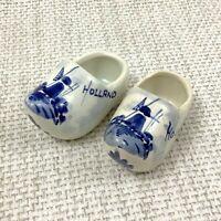 Klassisch Delft Töpferei Miniatur Clogs Schuhe Dutch Blau und Weiß Windmühle