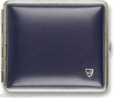 Portasigarette Pelle morbida blu/Nastro gomma/2 lati/Telaio Nichel/18 Kingsize