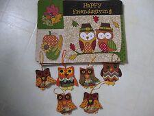 Autumn / Fall / Thanksgiving Placemat Set & Utensil Holders OWLS / Set 6 / NEW