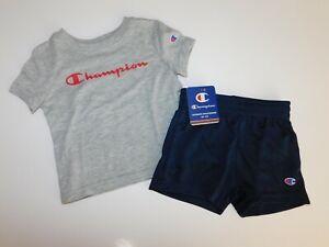 NWT Champion Baby Boy 2Pc Set Gray T-Shirt & Navy Mesh Shorts 12M Free Ship New