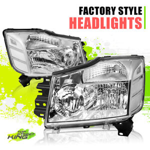 Factory Style Halogen Headlights for Nissan Titan Armada 04-15 Chrome Clear Pair