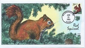 #2489 Red Squirrel Hand Painted Fred Collins cachet First Day cover