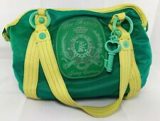 Juicy Couture Her Majesty Tote Bag Green Yellow Hobo Handbag Vinyl Leather