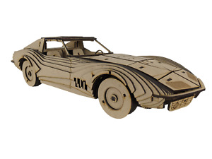 3D Wooden Puzzle, Craft Model Kit for Adults and Kids,1969 Corvette Stingray