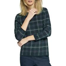 Basler Womens Plaid Pullover Sweater Top BHFO 4777