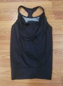 Champion Womens Tank Top Built in Black White Stripe Bra Workout Shirt SZ Small