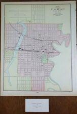"FARGO NORTH DAKOTA 1900 Vintage Atlas Map 11x14"" Old Antique CENTENNIAL MOORHEAD"