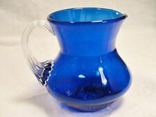 Vintage Fenton Art Glass Cobalt Blue creamer Pitcher w clear ribbed handle