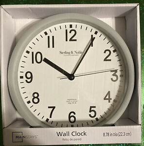 Mainstays Sterling & Noble Wall Clock New In Box  Grey