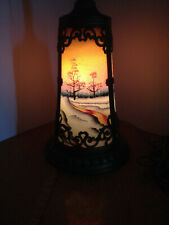 Beautiful Slag Glass Illuminated Lamp Base
