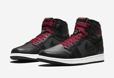 "Nike Air Jordan 1 Retro High OG ""Black Satin"" Red 555088-060 New Men's No Lid"