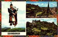 SCHOTTLAND Scotland EDINBURGH Multi-View Postcard u.a. Pipe Player, Scott Monum.