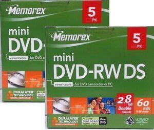 10x MEMOREX MINI DVD-RW DS 8cm DVD 2,8GB 60 Min.