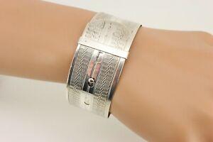 Edwardian / Victorian Solid 925 Silver Wide Belt Bangle Bracelet. NICE1