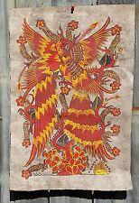 Vtg MEXICAN Folk Art AMATE BARK PAINTING ~ Orange Bird of Paradise Pair 15x23