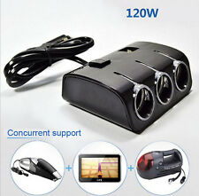 3Way DC 12-24V Multi Socket Car Cigarette Lighter Splitter USB Charger Adapter