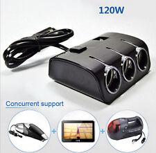 3 Way DC 12V /24V Car Cigarette Lighter Socket Splitter Dual USB Charger Adapter
