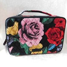 VERA BRADLEY LARGE BLUSH & BRUSH MAKE UP COSMETIC CASE HAVANA ROSE NWT BLACK RED